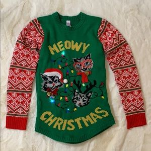 Meowy Christmas lights cat ugly Christmas sweater